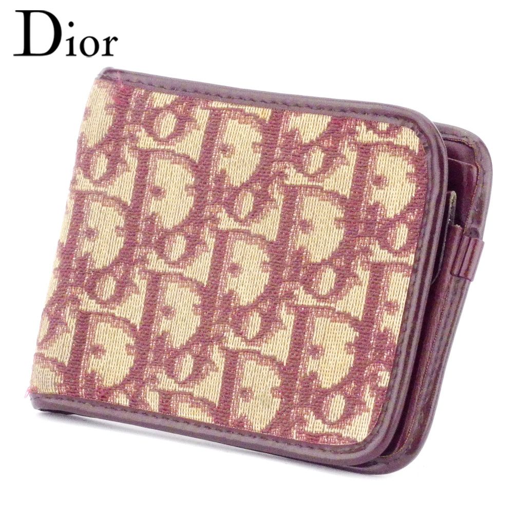 【中古】 ディオール Dior 二つ折り 財布 ヴィンテージ ボルドー ベージュ レディース メンズ ユニセックス キャンバス×レザー サイフ 小物 ブランド 人気 贈り物 迅速発送 在庫処分 男性 女性 良品 夏 1点物 D2098