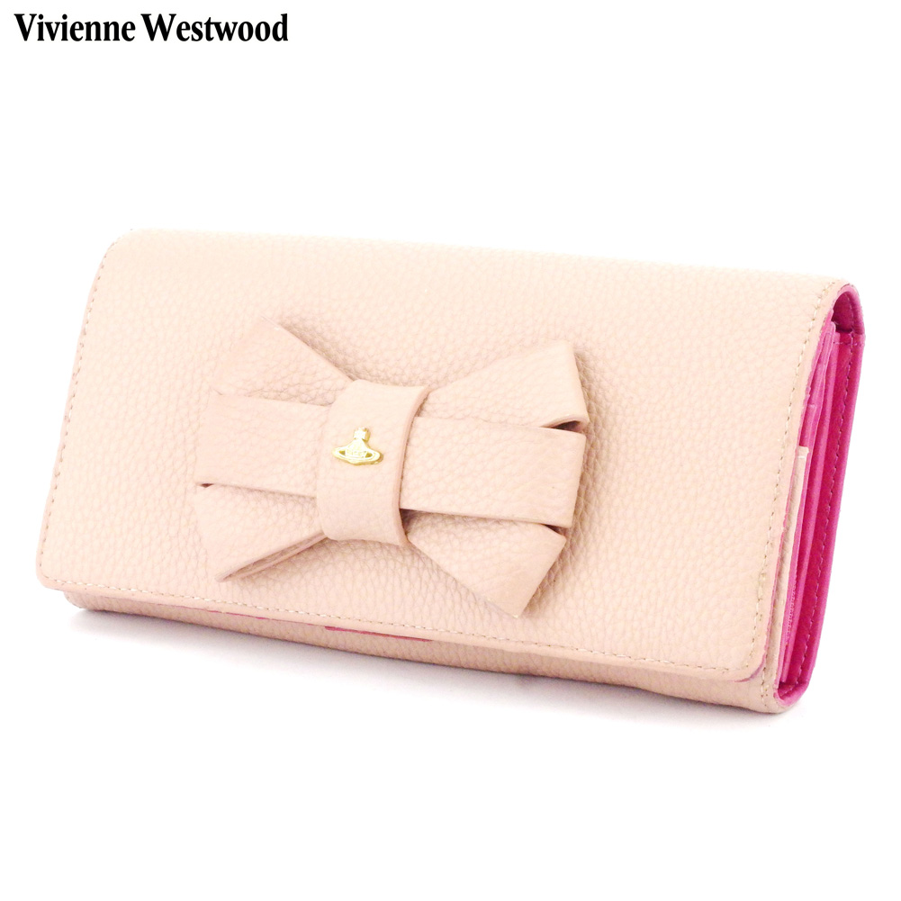 【中古】 ヴィヴィアン ウエストウッド 長財布 ラウンドファスナー 財布 オーブ リボンモチーフ ピンク ゴールド レザー Vivienne Westwood T9909