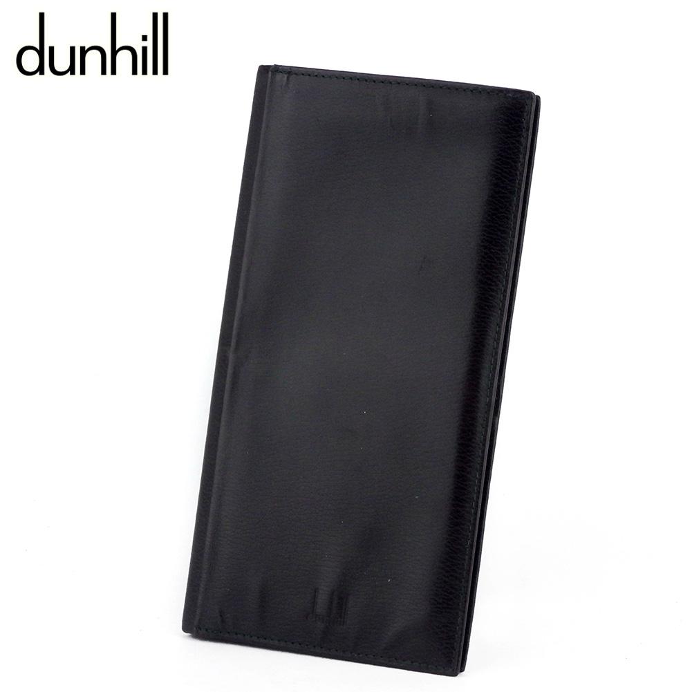 【中古】 ダンヒル 長札入れ 札入れ メンズ ロゴ ブラウン ブラック レザー dunhill T10007 A