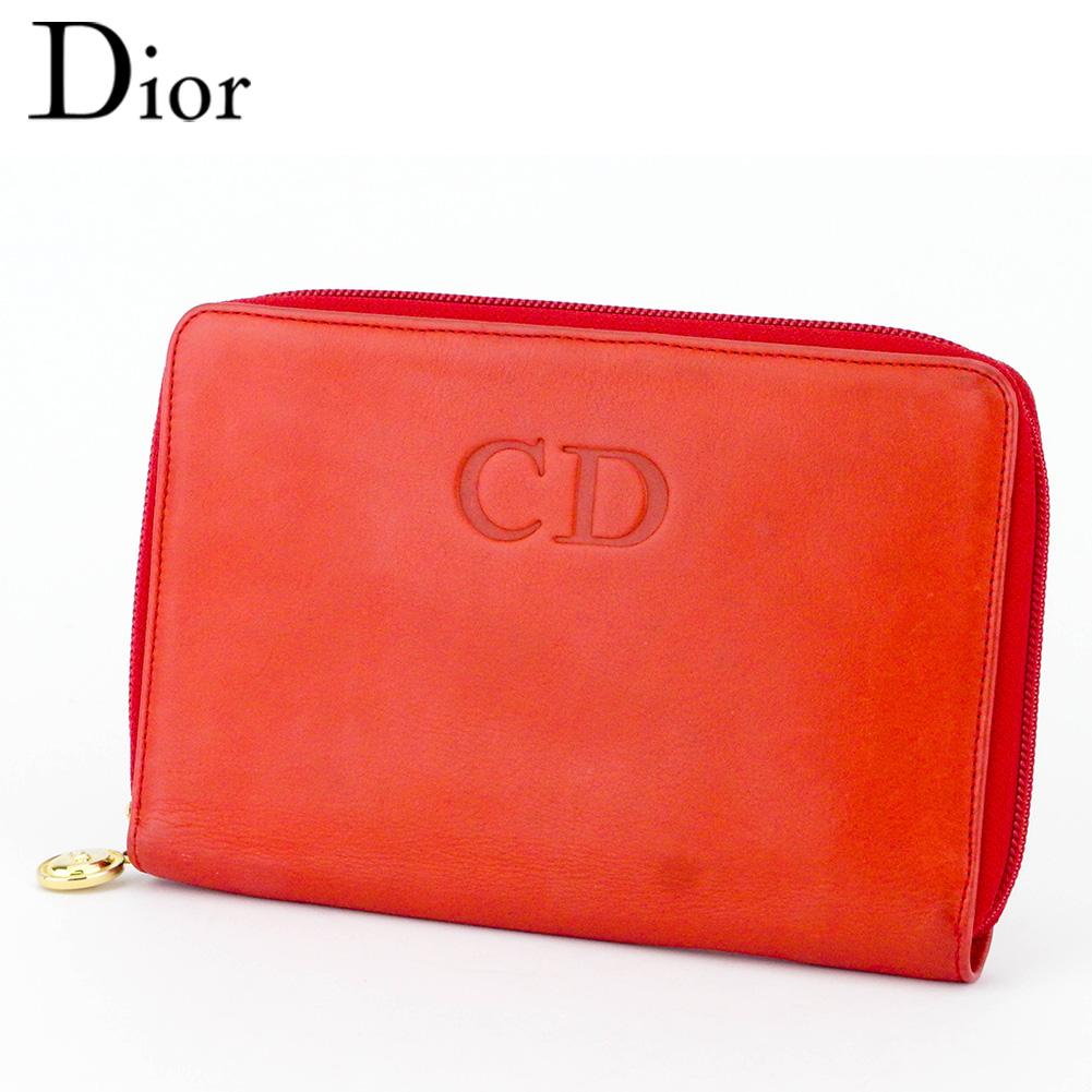【中古】 ディオール 長財布 ラウンドファスナー 財布 レディース メンズ トラベルウォレット CDマーク レッド ゴールド レザー Dior T10023