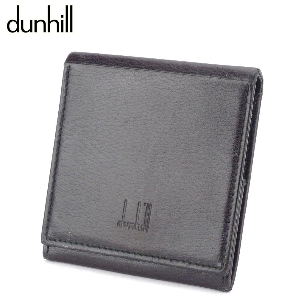【中古】 ダンヒル コインケース 小銭入れ メンズ スクエアフォルム ロゴ ブラウン ブラック レザー dunhill T10050