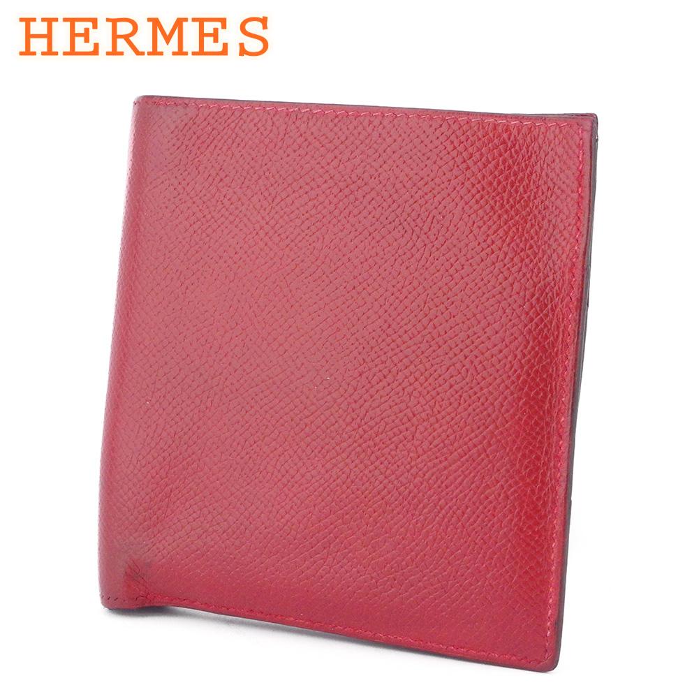 【中古】 エルメス 二つ折り 財布 レディース メンズ レッド レザー HERMES T9946