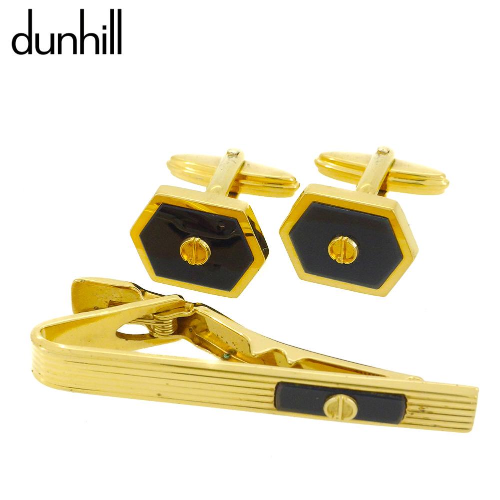 【中古】 ダンヒル カフス カフリンクス タイピン ネクタイピン メンズ dマーク 2アイテムセット ゴールド ブラック ネイビー ゴールド金具 dunhill T9987