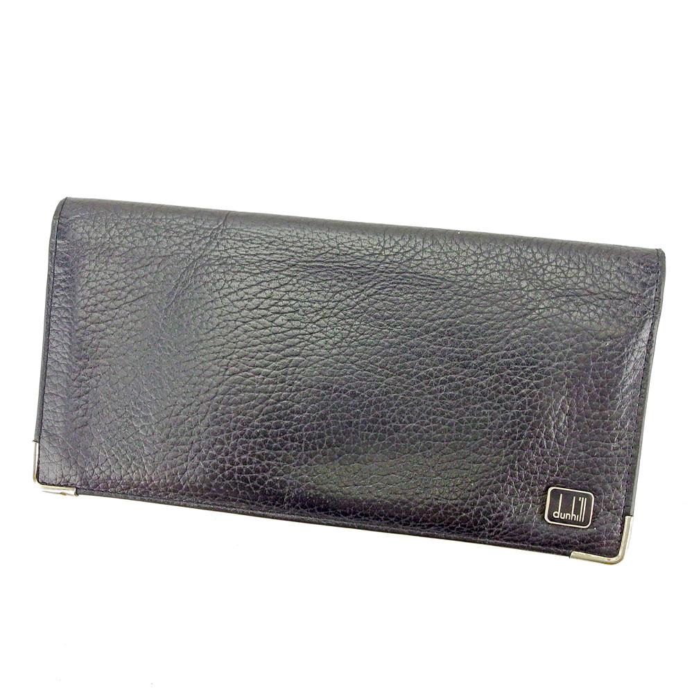 【中古】 【送料無料】 ダンヒル 長財布 ファスナー付き 財布 ブラック×シルバー S580s