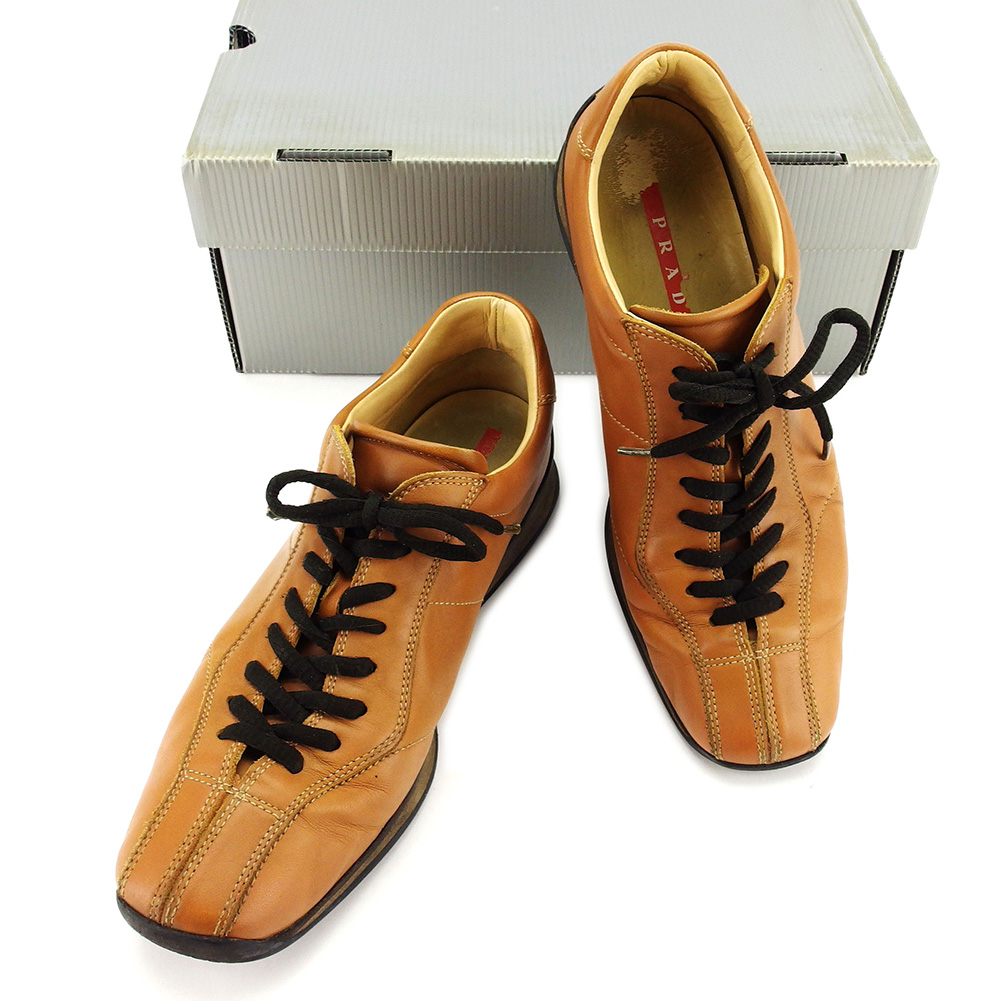 【中古】 【送料無料】 プラダ PRADA スニーカー #39 2/1 シューズ 靴 メンズ キャメル レザー 人気 T3103