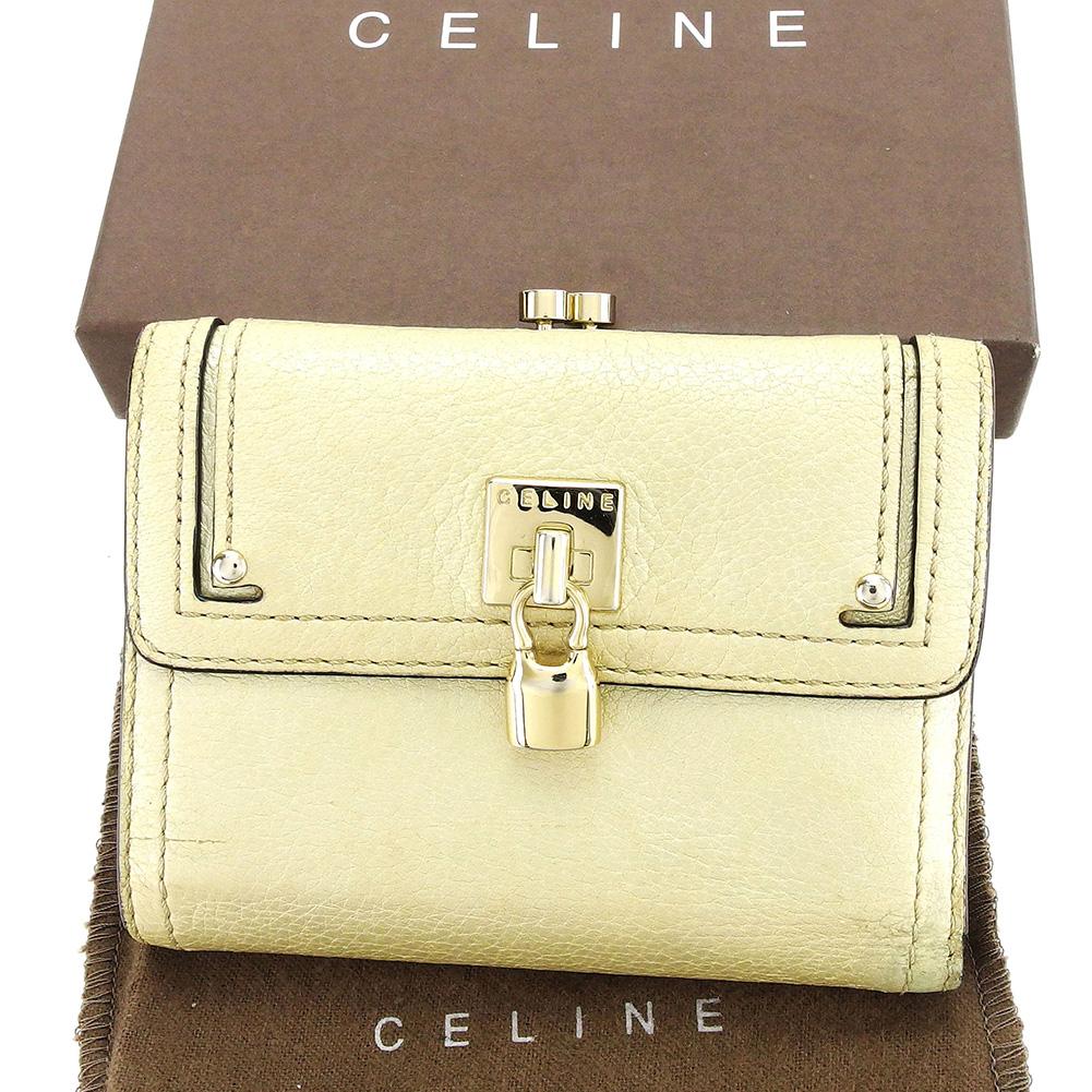 【中古】 【送料無料】 セリーヌ Celine がま口財布 三つ折り 財布 メンズ可 ライトゴールド レザー 人気 良品 T3106