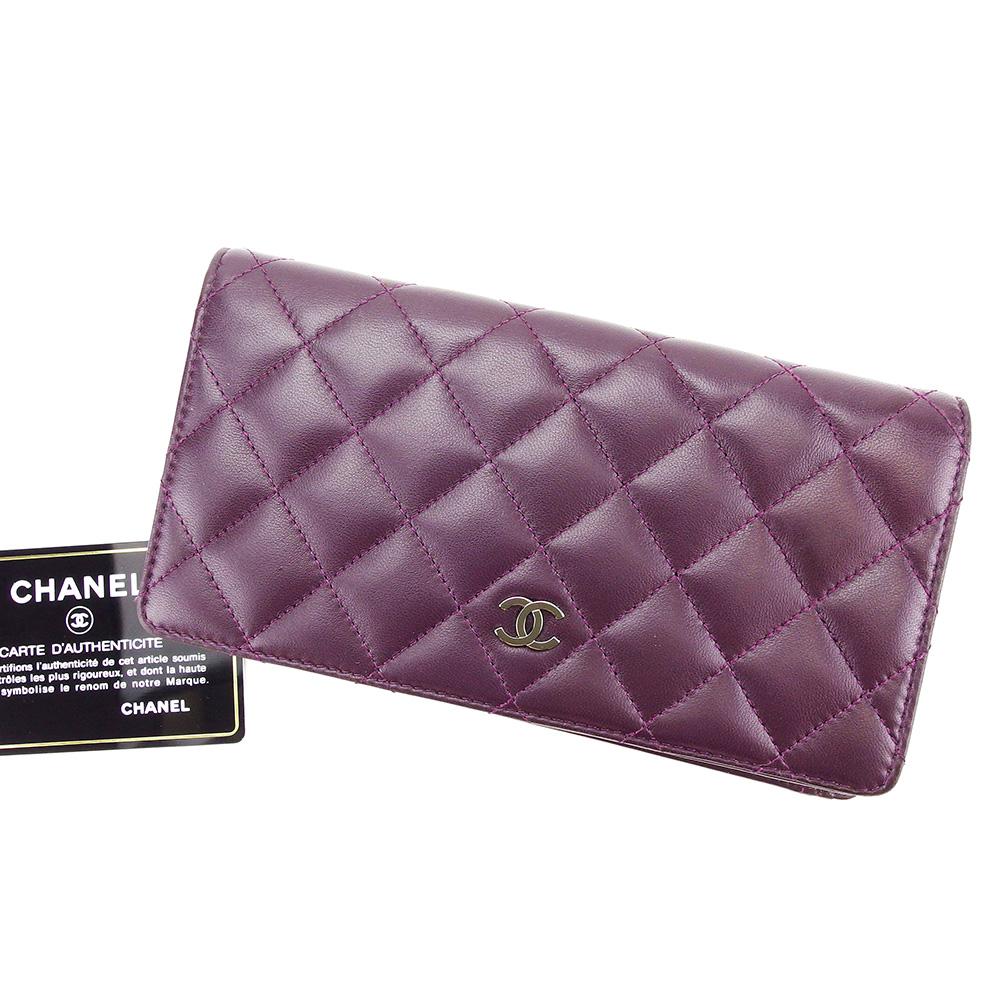 【中古】 【送料無料】 シャネル CHANEL 長財布 二つ折り 財布 メンズ可 マトラッセ ブラウン レザー 超美品 T3365