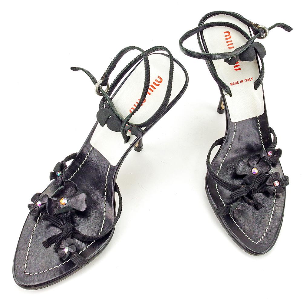 【中古】 【送料無料】 ミュウミュウ miu miu サンダル シューズ 靴 レディース ♯35 ピンヒール フラワーモチーフ ブラック×シルバー系 レザー 良品 T4096