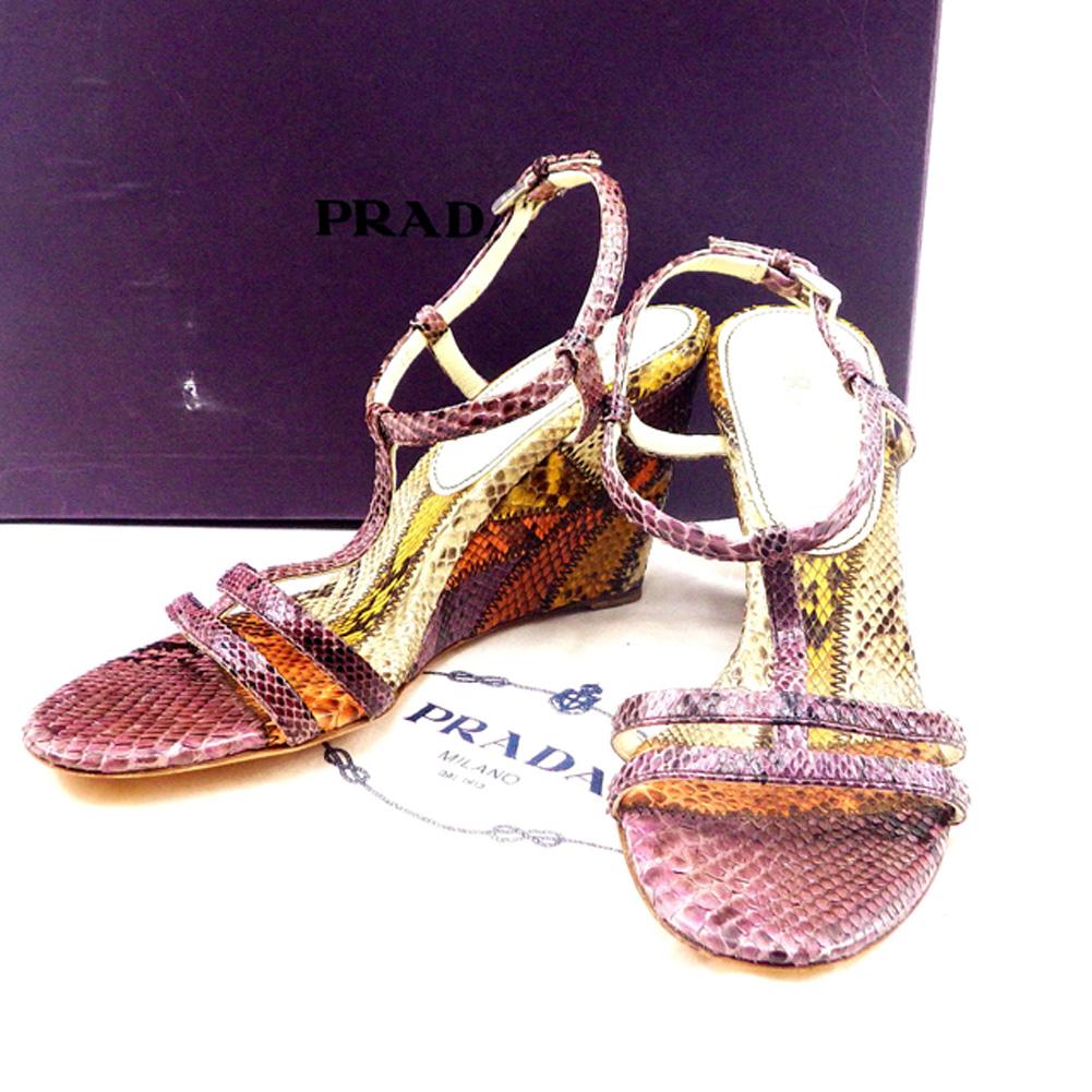 【中古】 【送料無料】 プラダ PRADA サンダル ウエッジソール 靴 レディース #36 パイソン レザー 人気 T4752
