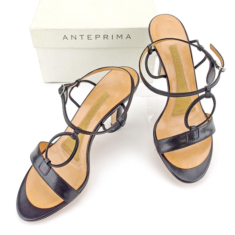 【中古】 【送料無料】 アンテプリマ ANTEPRIMA サンダル シューズ 靴 レディース ♯35 アンクルストラップ レザーリング ブラック シルバー系 レザー 美品 T5193