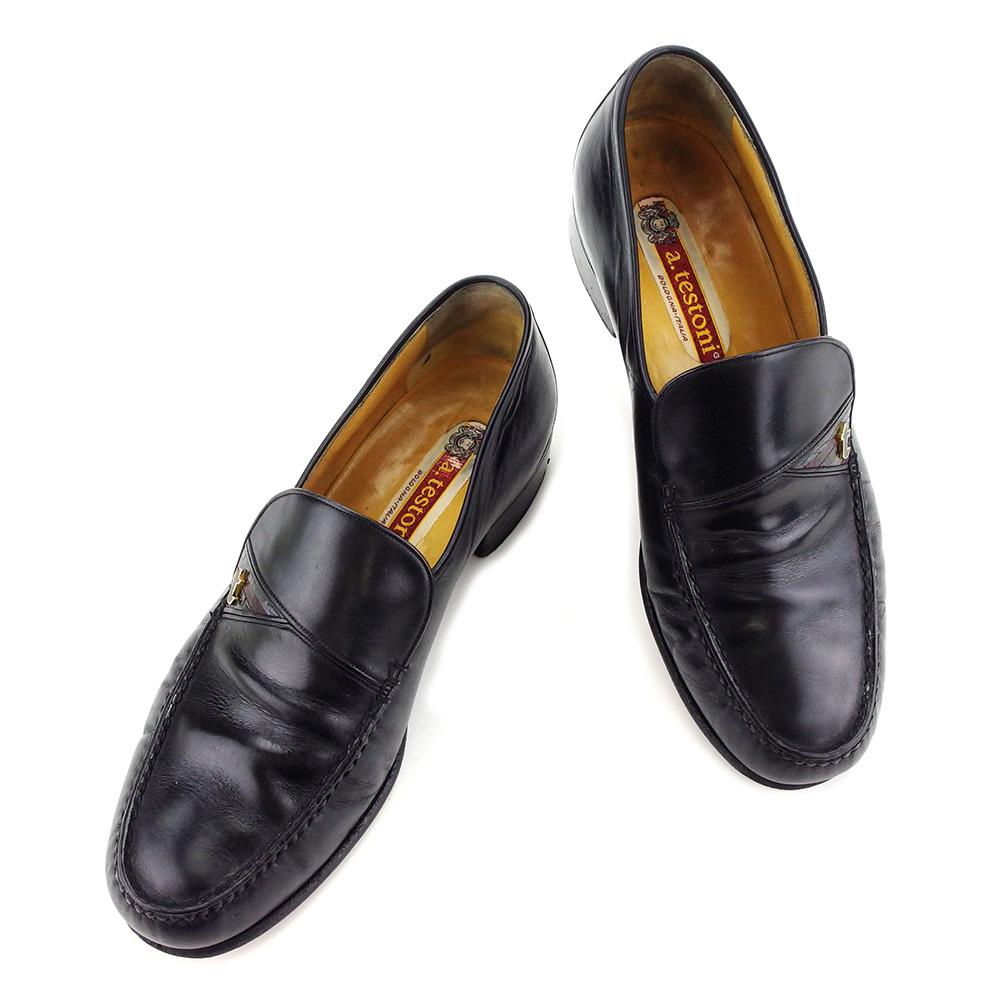 【中古】 【送料無料】 ア・テストーニ atestoni ローファー #5 1/2 シューズ 靴 メンズ可 ブラック レザー 人気 L1722