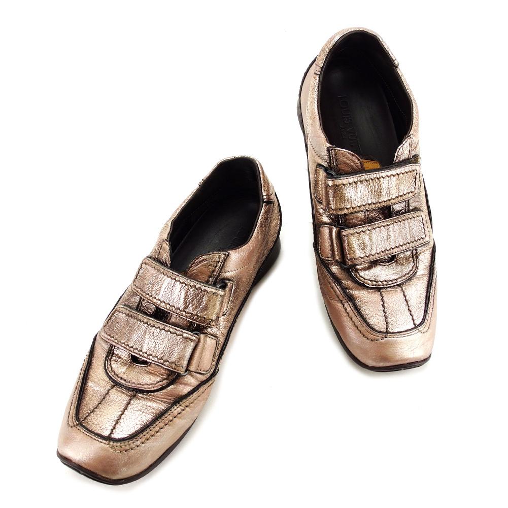 【中古】 【送料無料】 ルイ ヴィトン Louis Vuitton スニーカー シューズ 靴 レディース ♯37 ローカット ベルクロ マジックテープ メタリックブロンズ系 レザー 良品 T3269