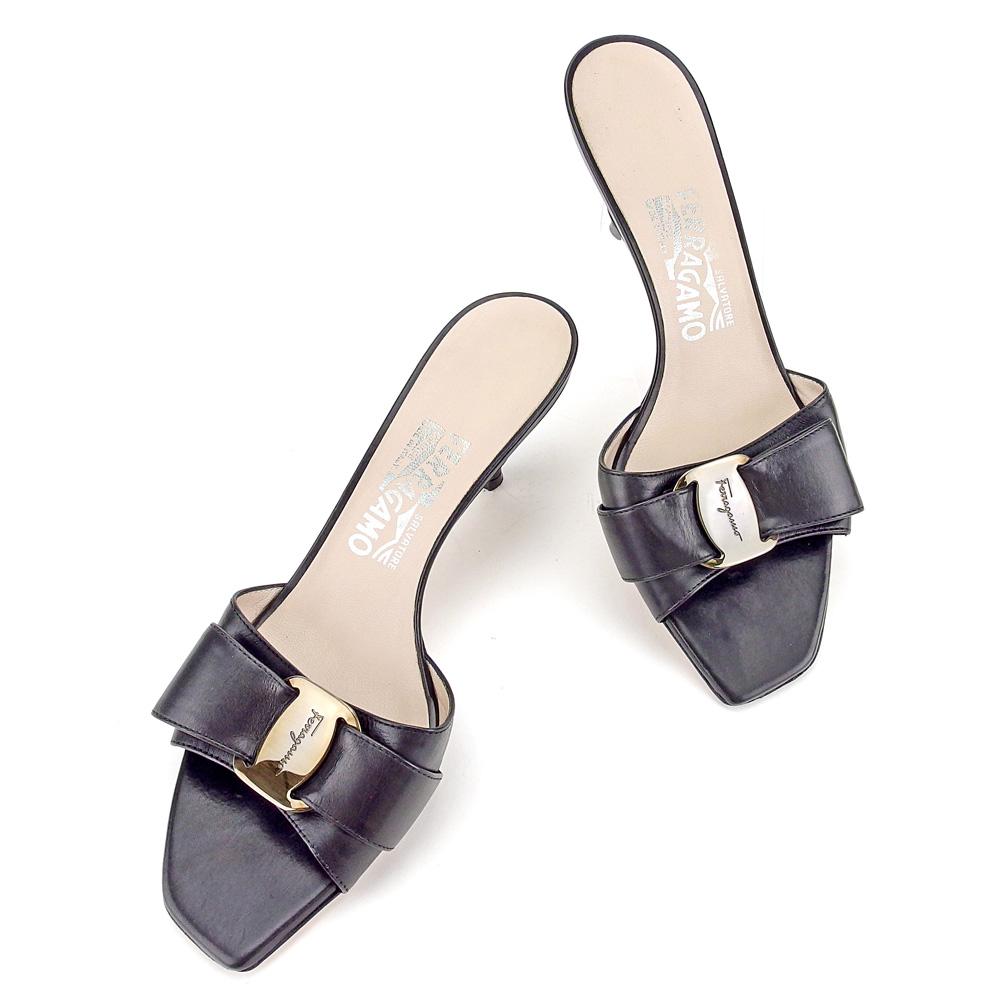 【中古】 【送料無料】 サルヴァトーレ フェラガモ ミュール シューズ 靴 ブラック×ブラックシルバー T4524s