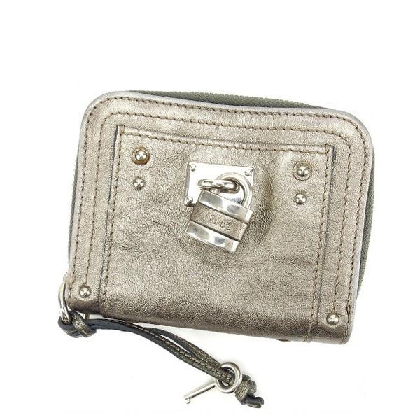 【中古】 【送料無料】 クロエ Chloe 二つ折り財布 ラウンドファスナー メンズ可 カデナ&キー付き バティントン シルバー系 レザー (あす楽対応) Y3244