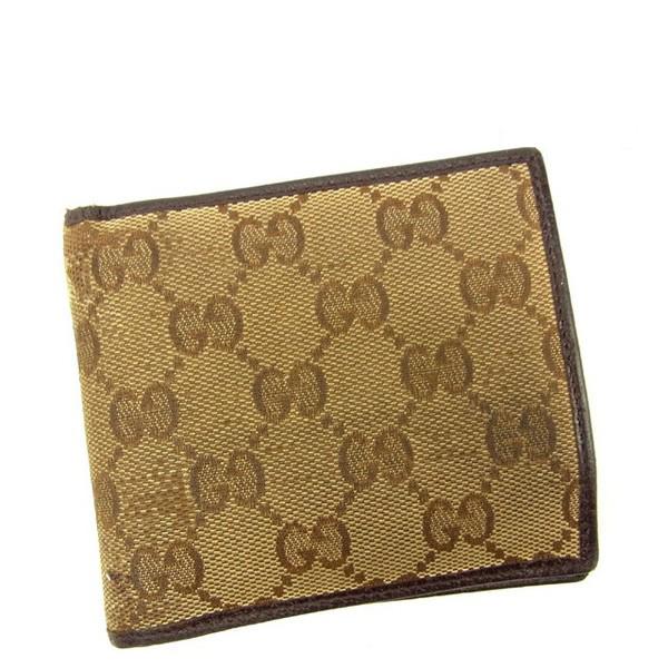 【中古】 【送料無料】 グッチ Gucci 二つ折り財布 メンズ可 GGキャンバス ベージュ×ブラウン キャンバス×レザー 人気 Y5653s