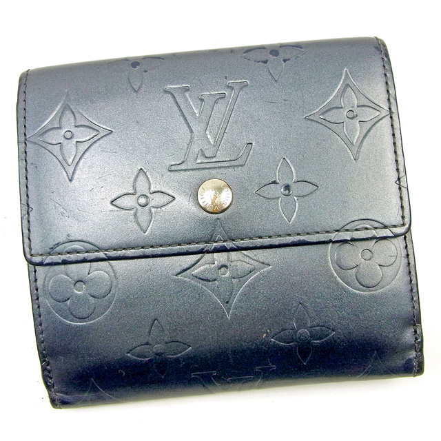 【中古】 【送料無料】 ルイ ヴィトン Louis Vuitton Wホック財布 三つ折り財布 メンズ可 ポルトモネビエカルトクレディ モノグラムマット ブルー モノグラムマットレザー 人気 Y7321