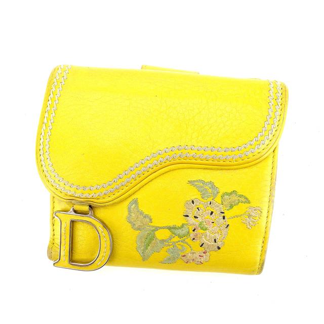 【中古】 【送料無料】 クリスチャンディオール Christian Dior Wホック財布 二つ折り財布 レディース フラワー刺繍 サドル型 イエロー×シルバー系 レザー (あす楽対応) 人気 A1034