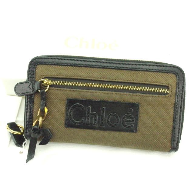 【中古】 【送料無料】 クロエ Chloe ラウンドファスナー財布 長財布 メンズ可 ブラウン×ブラック キャンバス×レザー 人気 G1156