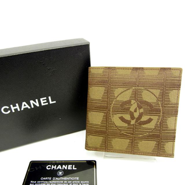 【中古】 【送料無料】 シャネル CHANEL 二つ折り財布 レア レディース ニュートラベルライン ベージュ×ブラウン キャンバス×レザー 未使用品 Y5307s