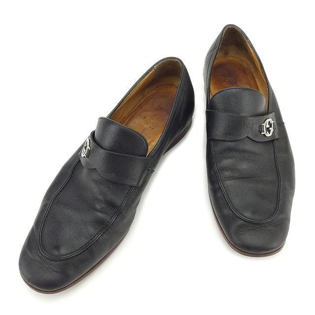 【中古】 【送料無料】 グッチ GUCCI ローファー シューズ 靴 メンズ インターロッキングG ダブルG ブラック×シルバー レザー 人気 D1659
