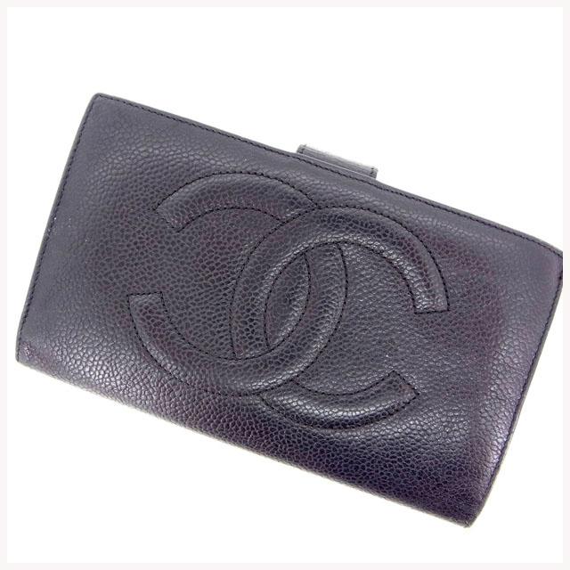 【中古】 【送料無料】 (良品) シャネル CHANEL がま口財布 長財布 メンズ可 キャビアスキン×ココマーク ブラック レザー D908