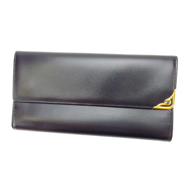 【中古】 【送料無料】 カルティエ 長財布 がま口 三つ折り ブラック×ゴールド×ブルー L468s