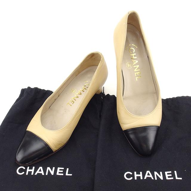 【中古】 【送料無料】 シャネル CHANEL パンプス シューズ 靴 レディース ♯35 ラウンドトゥ バイカラー ベージュ×ブラック レザー 人気 T1753