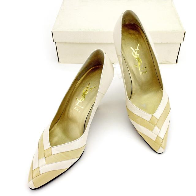 【中古】 【送料無料】 サンローラン SAINT LAURENT パンプス シューズ 靴 レディース ♯34ハーフ ポインテッドトゥ つま先切替え オフホワイト×ベージュ レザー 良品 T2618