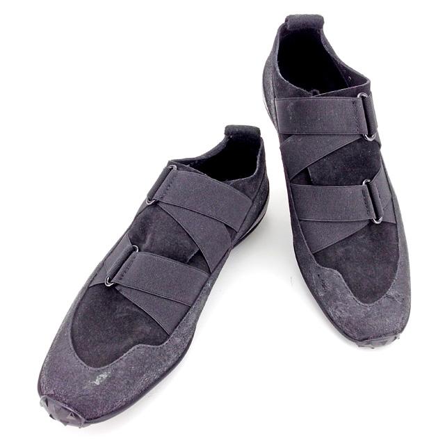 【中古】 【送料無料】 グッチ GUCCI シューズ スニーカー 靴 レディース ♯35ハーフC ゴムバンド ブラック キャンバス×レザー×ラバー 人気 T2670