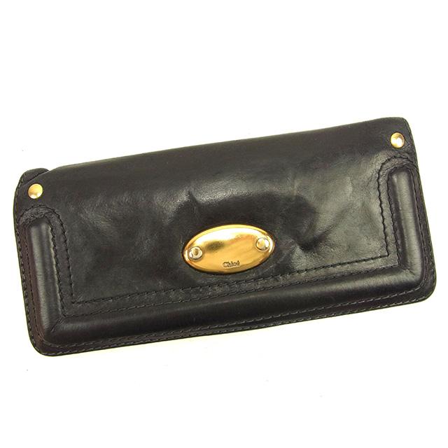 【中古】 【送料無料】 クロエ Chloe 長財布 ファスナー付き長財布 レディース メンズ 可 ブラック レザー 人気 T711