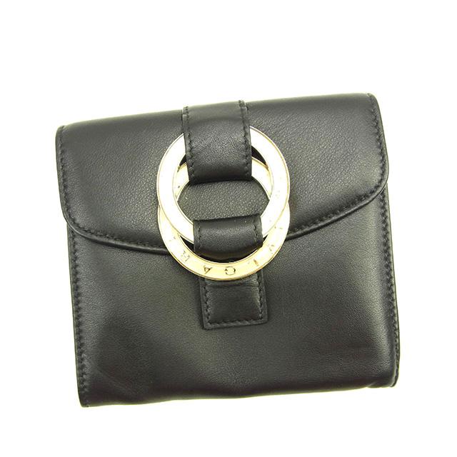 【中古】 【送料無料】 ブルガリ BVLGARI 三つ折り財布 コンパクトサイズ メンズ可 ダブルロゴリング ブラック×ゴールド系 美品 Y3789s