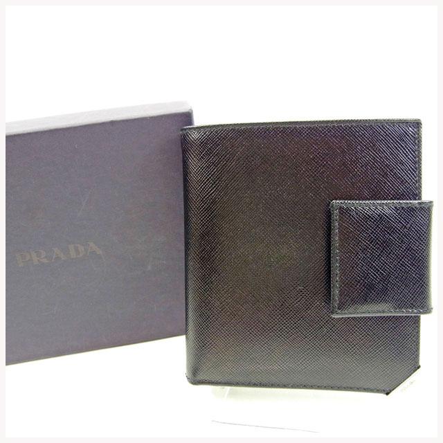 【中古】 【送料無料】 プラダ PRADA 二つ折り札入れ メンズ可 ロゴ ブラック サフィアーノ 良品 Y5661