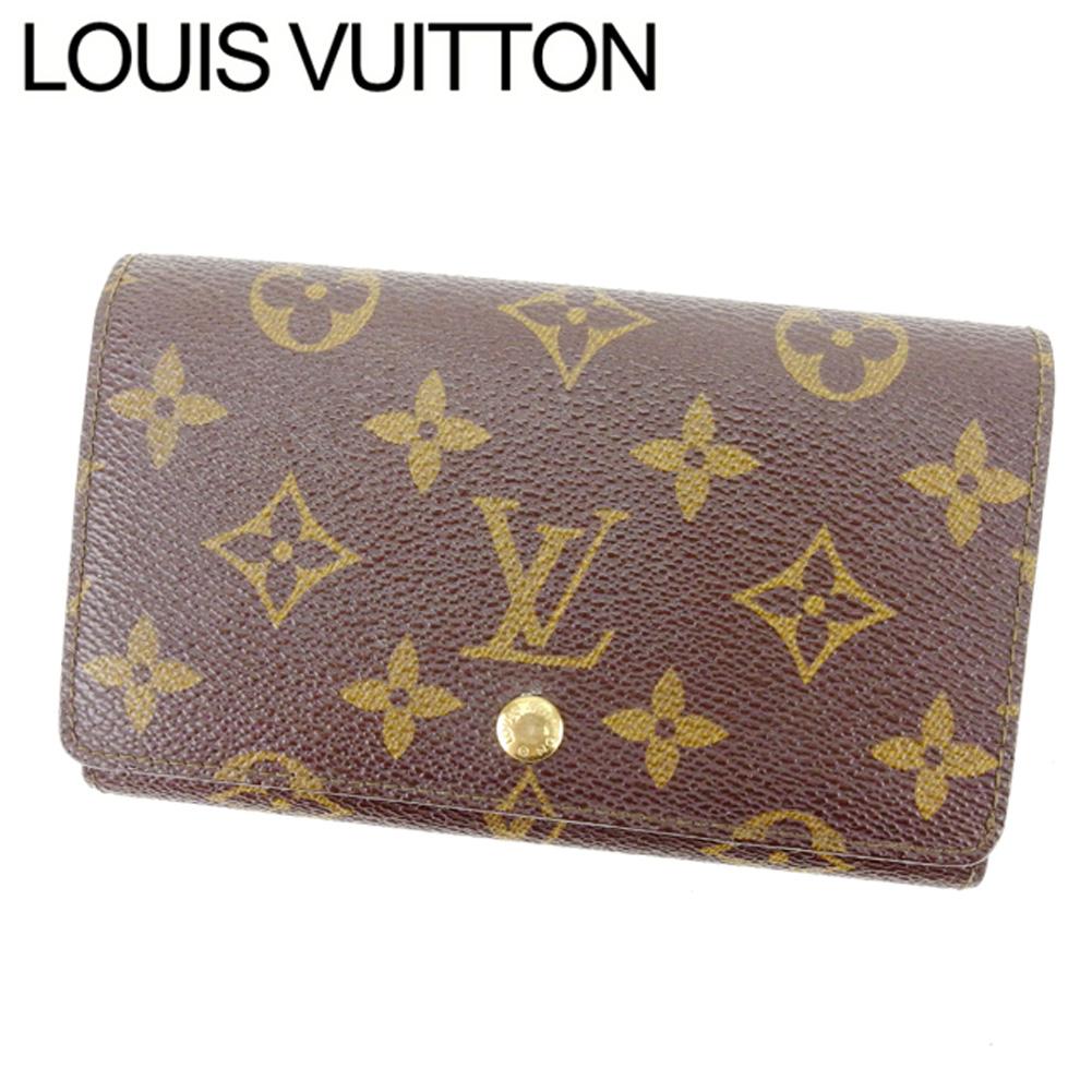 【中古】 【送料無料】 ルイヴィトン Louis Vuitton L字ファスナー財布 二つ折り メンズ可 ポルトモネビエトレゾール モノグラム M61730 ブラウン モノグラムキャンバス (あす楽対応) 即納 E947 .