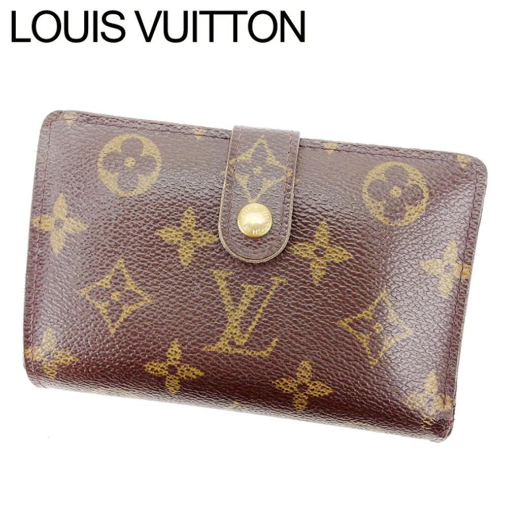 【中古】 【送料無料】 ルイヴィトン Louis Vuitton がま口財布 二つ折り メンズ可 ポルトモネビエヴィエノワ モノグラム M61663 ブラウン モノグラムキャンバス (あす楽対応) 即納 G765 .