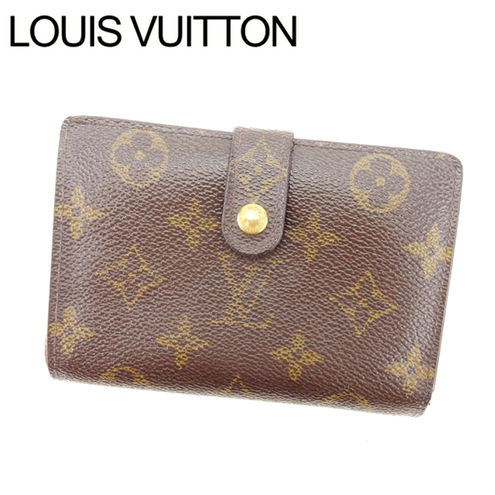 【中古】 【送料無料】 ルイヴィトン Louis Vuitton がま口財布 二つ折り メンズ可 /ポルトモネ ビエヴィエノワ モノグラム M61663 ブラウン PVC×レザー (あす楽対応)人気 激安 Y1050 .