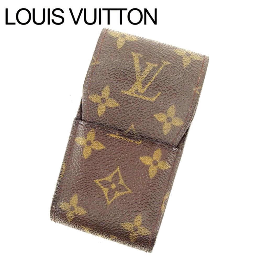 【中古】 ルイヴィトン Louis Vuitton シガレットケース タバコケース レディース エテュイシガレット ブラウン モノグラムキャンバス T11334