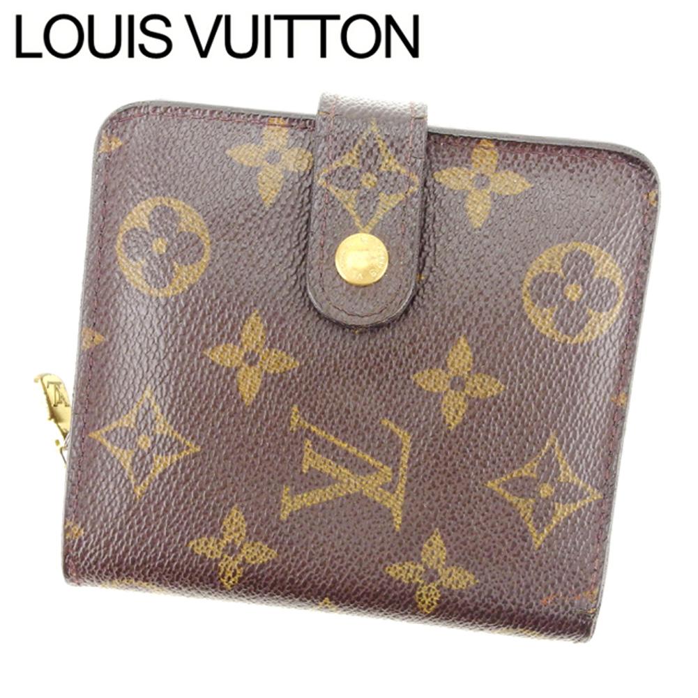 【中古】 【送料無料】 ルイヴィトン Louis Vuitton 二つ折り財布 ラウンドファスナー /メンズ可 /コンパクトジップ モノグラム M61667 ブラウン PVC×レザー (あす楽対応)(激安・即納) Y402 .