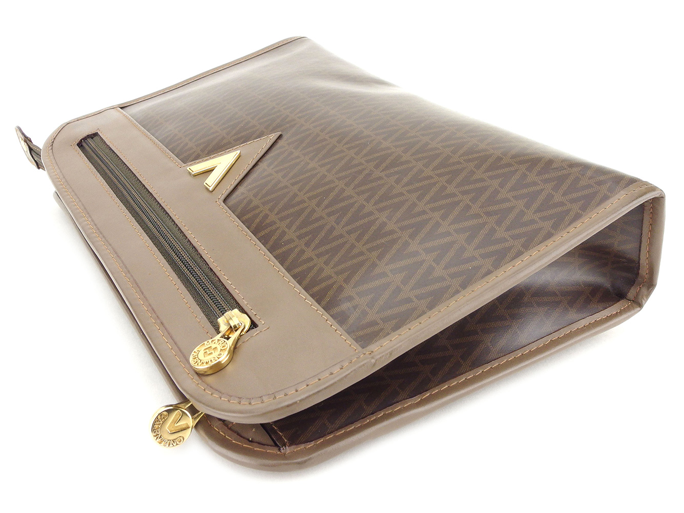 70e25e6156 ... Mario Valentino MARIO VALENTINO clutch bag second bag Lady's men V Mark  Brown beige gold PVC ...
