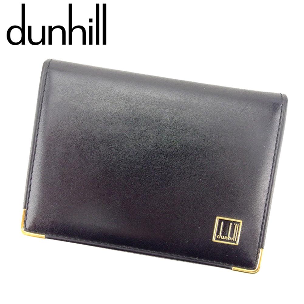 【中古】 ダンヒル Dunhill 定期入れ 名刺入れ カードケース パスケース メンズ ブラック レザー定期入れ B982s