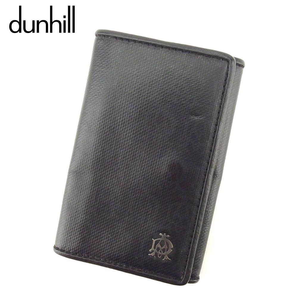 【中古】 ダンヒル dunhill キーケース 6連キーケース メンズ ウィンザー ブラック グレー 灰色 シルバー PVC×レザー 美品 セール H587 .