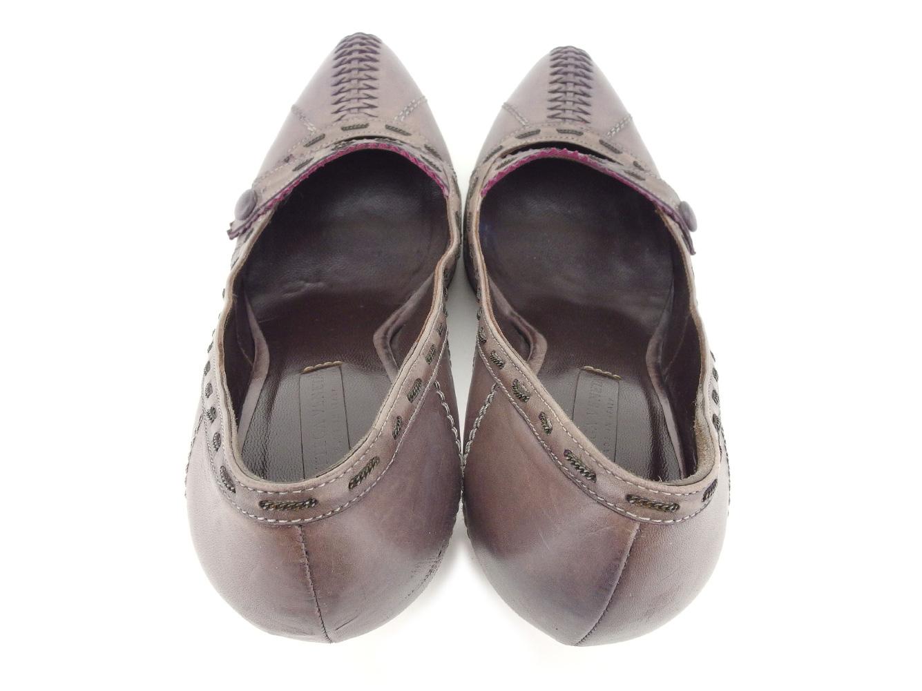 ボッテガ ヴェネタ BOTTEGA VENETA パンプス シューズ 靴 レディース ♯35ハーフ ハイヒール パープル レザー Q440 APkiZuX