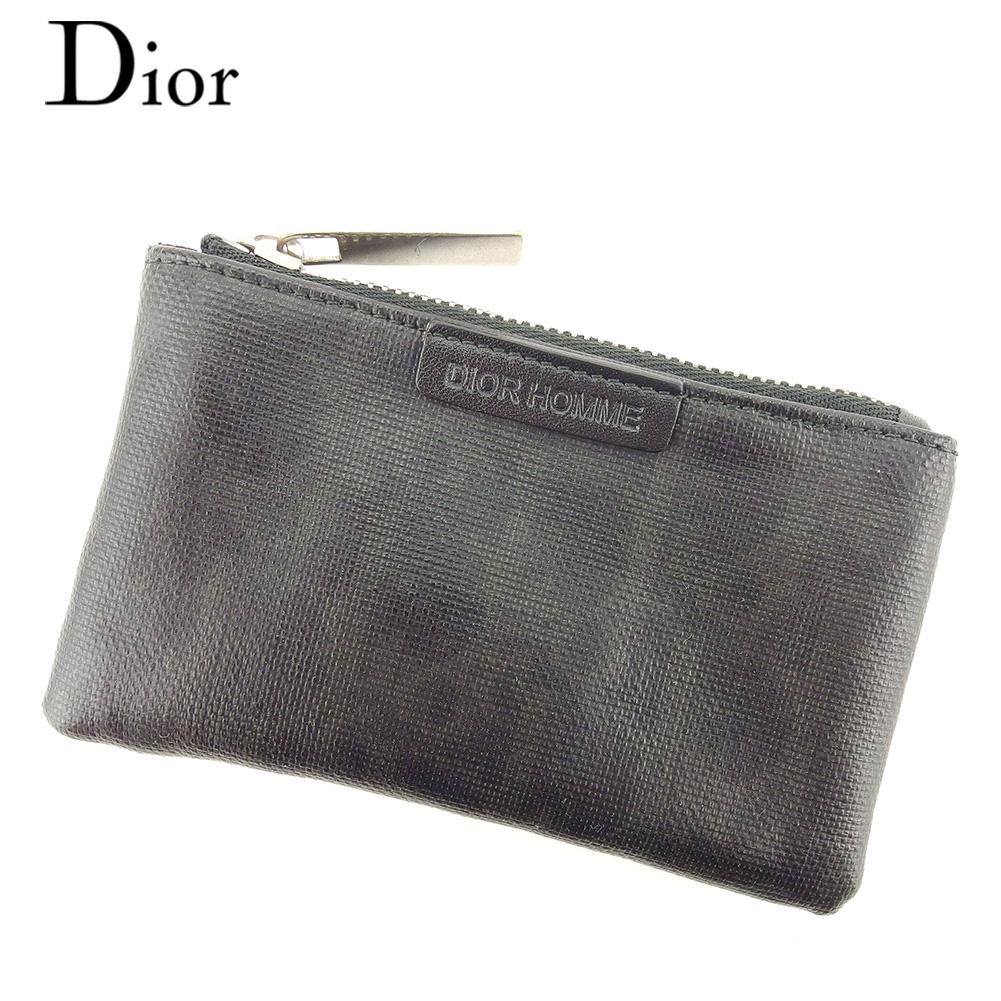 【中古】 ディオール オム Dior Homme コインケース 小銭入れ キーケース メンズ トロッター ブラック グレー 灰色 シルバー コーティングキャンバス×レザー 人気 良品 T7742 .