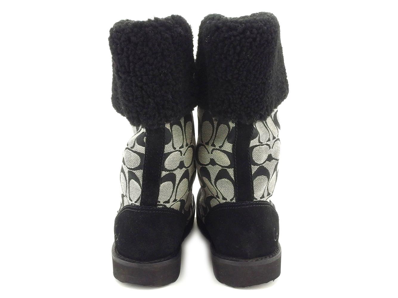 コーチ ブーツ シューズ 靴 ♯6ハーフB ミドル シグネチャー ブラック グレー 灰色 キャンバス×スエードF2060 J09PnO80wk
