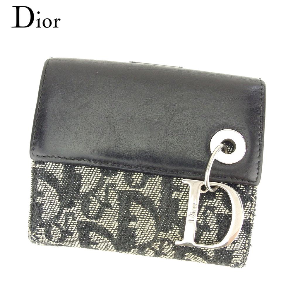 【中古】 ディオール Dior Wホック 財布 二つ折り レディース メンズ Dチャーム トロッター ブラック ホワイト 白 シルバー キャンバス×レザー 人気 セール T7747 .