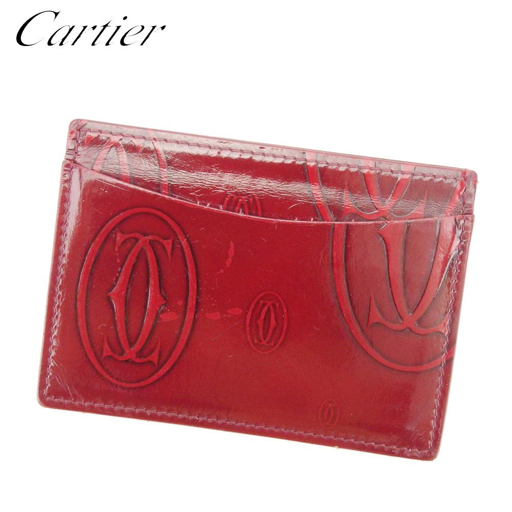 【中古】 カルティエ Cartier カードケース パスケース レディース メンズ ハッピーバースデー ボルドー エナメルレザー 人気 セール T7750 .