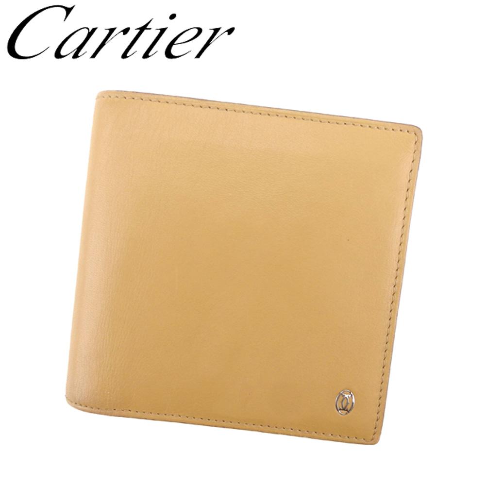 【中古】 カルティエカルティエ Cartier 二つ折り 財布 レディース メンズ パシャ ベージュ レザー 美品 セール T8122 .