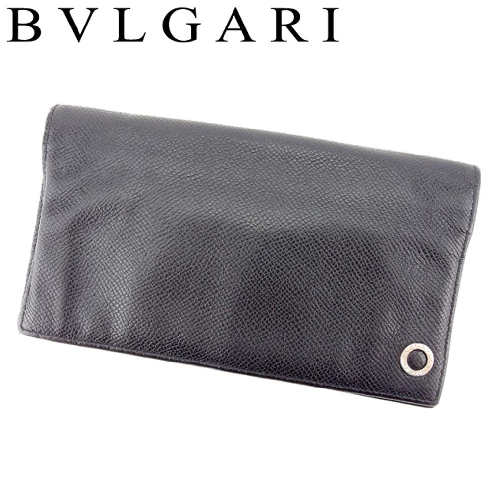 待望 夏 プレゼント 中古 低廉 ブルガリ 長財布 ファスナー付き レザー ブラック BVLGARI ブルガリブルガリ T8138
