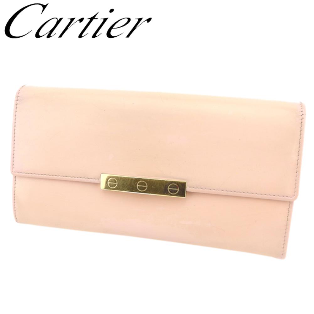 夏 プレゼント 中古 カルティエ 長財布 ファスナー付き ピンクピンク メーカー公式ショップ T8140 Cartier ラブコレクション レザー 贈与