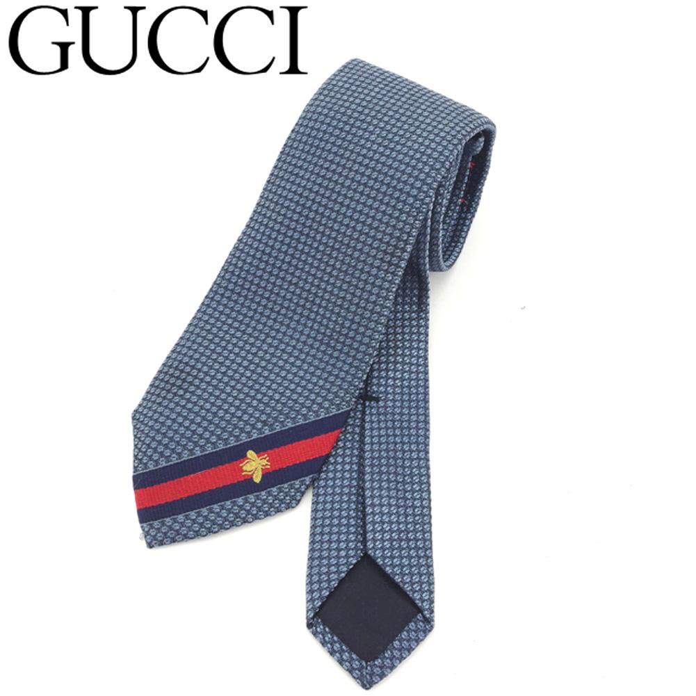 【中古】 グッチ GUCCI ネクタイ ビジネス メンズ ビー ブルー 人気 良品 T8148 .