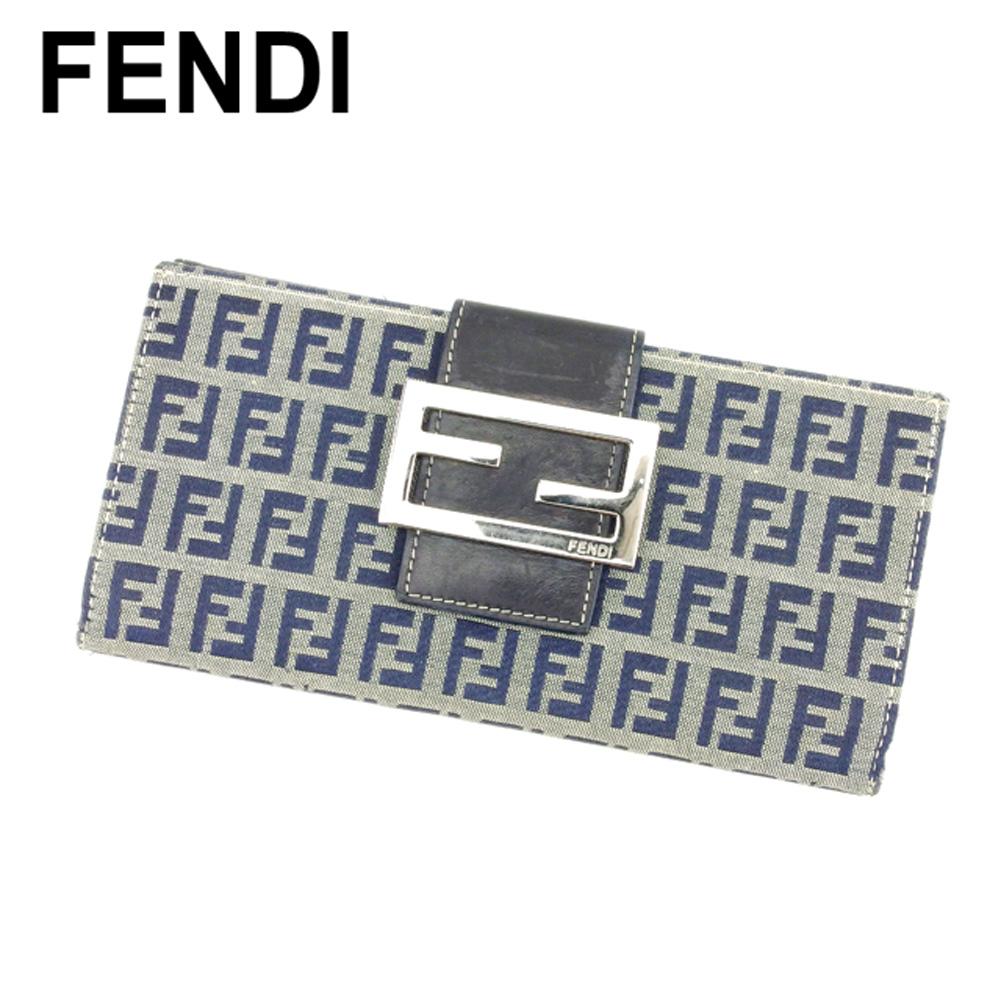 【中古】 フェンディ FENDI 長財布 Wホック レディース ズッキーノ ベージュ ブラック レザー 人気 セール E1295